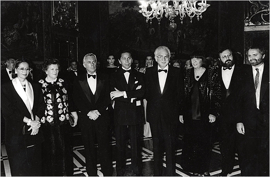 left to right Giorgio Armani, Valentino, a former Italian president, Mariuccia Mandelli, Gianfranco Ferre and Gianni Versace. in the background, behind Valentino,  Giancarlo Giammetti.