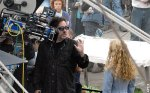Tim Burton in the set of his new film Alice in Wonderland